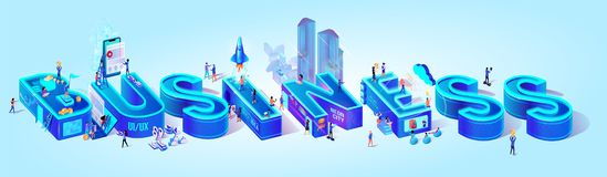 Isometric Projection of Word Business. Smart City stock illustration