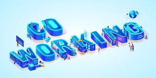 Isometric Projection Of Word Coworking. Teamwork royalty free illustration