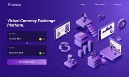 Isometric projekt wirtualna wymiany walut platforma z 3d ja Obrazy Stock