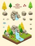Isometric Proste skały Ustawiać - Borealna Lasowa Rockowej formaci jesień Obraz Royalty Free