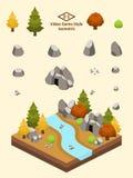 Isometric Proste skały Ustawiać - Temperate lasu Rockowa formacja Zdjęcia Stock