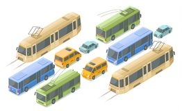 Isometric public and passenger transport vector illustration icons of modern buses, cars and tram or trolleybus. Isometric public passenger transport vector Vector Illustration