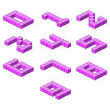Isometric purple font from the cubes. Numbers Stock Photos