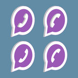 Isometric purple phone handset in speech bubble icon. Royalty Free Stock Images