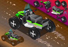 Isometric Quad Bike in Rear View Stock Photo