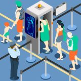 Isometric Queue at Security Checkpoint Machine. Isometric Queue at Security Checkpoint - Body Scan Machine - Airport Check In vector illustration