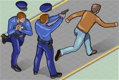 Isometric rabuś i policjant ilustracji