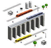 Isometric Railroad. A set of vector elements isometric Railroad with train royalty free illustration