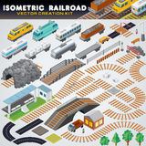 Isometric Railroad Train. Detailed 3D Illustration Royalty Free Stock Photo
