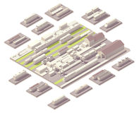 Isometric railroad yard. Vector isometric rail yard with set of railroad cars and locomotives royalty free illustration
