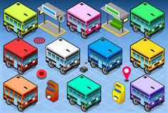 Isometric Rainbow Buses Royalty Free Stock Image