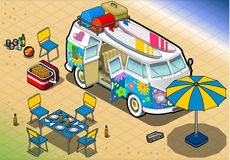 Isometric Rainbow Van in Camping in Front View Stock Images