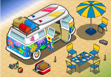 Isometric Rainbow Van in Camping in Rear View Stock Photo