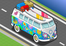 Isometric Rainbow Van in Front View Stock Images