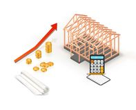 Isometric real estate property sale or investment concept with graph. Timber frame house building with blueprint. stock illustration