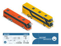 Isometric realistic bus and boarding pass ticket template design isolated on white background. Travel around the world Stock Photography