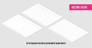 Isometric Realistic vector illustration of blank sheets of square and lined paper from a block. Easily editable mockup vector royalty free illustration
