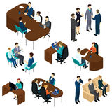 Isometric Recruitment Process Set. With business people interview job candidates in different situations isolated vector illustration Stock Photography
