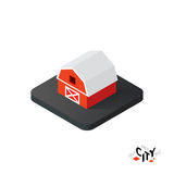 Isometric red barn icon, building city infographic element, vector illustration Stock Photo
