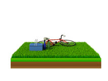 Isometric red bicycle on green grass. Concert Stock Images