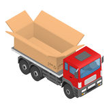 Isometric red cargo truck with cardboard box. Vector illustration Royalty Free Stock Images