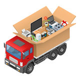 Isometric red cargo truck with cardboard box. Vector illustration Royalty Free Stock Image