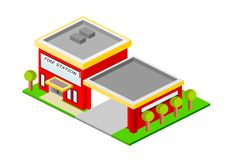 Isometric Red Fire Station Building. With trees, entrance and landscpae, eps vector format, jpeg Royalty Free Stock Photos