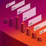 Isometric red and orange bar chart diagram with Stock Images