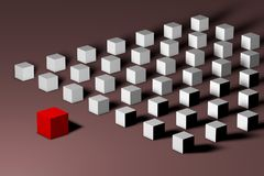 Isometric red unique cube in front of many white ones. Leadership, uniqueness, individuality, loneliness, difference and. Society concept. Technology background royalty free illustration