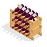 Isometric Red wine bottles stacked on wooden racks. Vector illustration isolated on white background Stock Photo