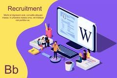Isometric Rekrutacyjny pojęcie Wektorowa ilustracja dla strony internetowej, obrazy royalty free