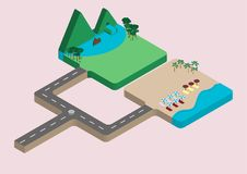 Isometric of relaxing vacation destinations. Isometric vector the place for relaxing vacation destinations between mountains and sea stock illustration