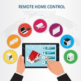 Isometric remote home control, smart home concept.  Royalty Free Stock Photo