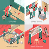 Isometric Renovation Design Concept. Different stages of apartment renovation 2x2 isometric design concept 3d isolated vector illustration Stock Image