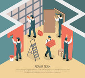 Isometric Renovation Illustration. Renovation repair team working in room 3d isometric vector illustration Stock Photos