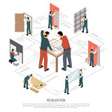 Isometric Renovation Infographics. Process of house renovation isometric 3d infographics on white background vector illustration Stock Photos