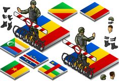 Isometric representation of Frontier militarily cl. Osed, outgoing and incoming, on the button flag of african country Royalty Free Stock Images