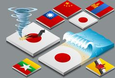 Isometric representation of natural disaster, tzun. Ami and typhon, on button flag Stock Images