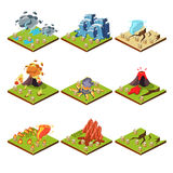 Isometric Representation of Natural Disaster. Vector illustration set Royalty Free Stock Images