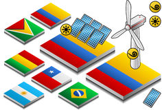 Isometric representation of solar and wind energy. On button flag Stock Photography
