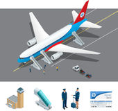 Isometric representing airport, international airlines Royalty Free Stock Image