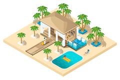 Isometric rest house, a girl with a suitcase from the plane goes to the reception, luxurious rest, palm trees, pool, sand vector illustration