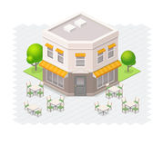 Isometric restaurant building. Vector restaurant with outdoor seating Stock Photography