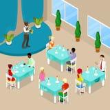 Isometric Restaurant Interior. People Eating In Luxury Restaurant Stock Image