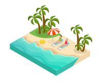Isometric Retired People Summer Vacation Concept. With pensioners lying on recliners near sea on tropical beach vector illustration vector illustration