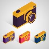 Isometric retro camera. Vector set. Royalty Free Stock Photo