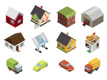 Isometric Retro Flat Cars House Real Estate Icons Royalty Free Stock Image