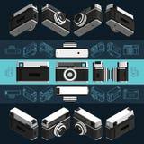 Isometric retro photo camera, 3D. Set 2 Royalty Free Stock Images