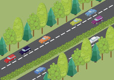 Isometric road and cars. Vector isometric color road and cars in the countryside Royalty Free Stock Photo
