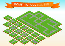 Isometric road elements. Isometric crossheads, circular motion, turns, deadlock. Stock Photos